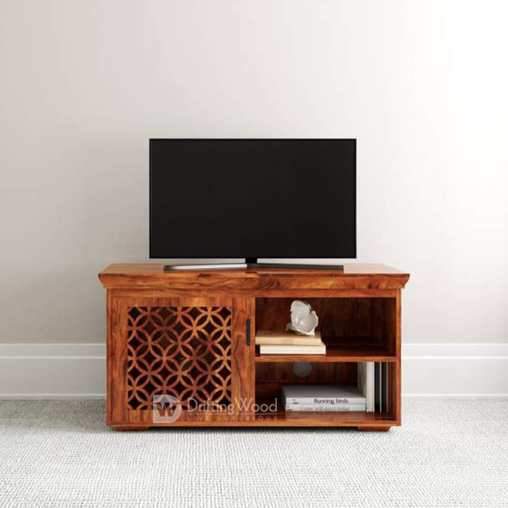 Driftingwood Sheesham Wood Wooden Tv Cabinet Furniture Stand Tv Unit In Living Room Dark Walnut Finish Standard Honey Finish Amazon In Home Kitchen