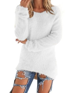 Sorrica Women's Casual Knit Pullover Loose Fluffy Fuzzy Jumper Sweater (US 12, White)