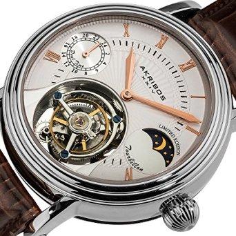 Akribos XXIV Men's AKR493SSBR Limited Edition Genuine Mechanical Tourbillon Moonphase Watch