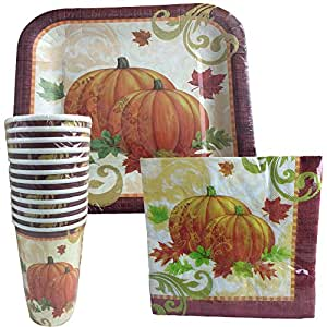 Amazon.com: Thanksgiving Disposable Dinnerware Set for ...