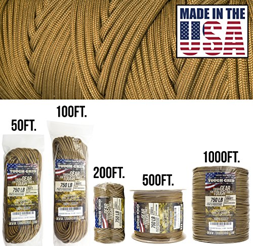 TOUGH-GRID 750lb Grizzly (Coyote) Brown Paracord/Parachute Cord - Genuine Mil Spec Type IV 750lb Paracord Used by US Military (MIl-C-5040-H) - 100% Nylon - Made in The USA. 500Ft - Grizzly Brown