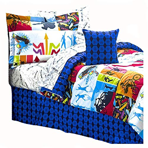 Extreme Sports Skateboard BMX Comforter & Sheet Set Bed In A Bag (8pc Queen Size) Via Amazon