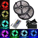 BMOUO 2 Reels 12V 32.8ft Waterproof Flexible RGB LED Strip Light Kit, Multi-colored, SMD5050 300 LEDs, LED Strip Kit & MINI 44-key IR Controller + 12V 5A Power Supply, Adhesive Light Strips