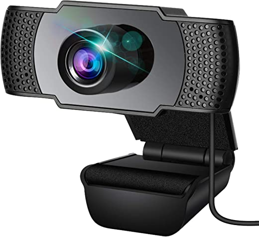 Webcam, Webcam with Microphone, USB Webcam with 3D Denoising and Automatic Gain, 1080p Webcam for Video Calling, Online Classes and Video Conference