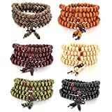 MOWOM 6PCS 8mm Wood Bracelet Link Wrist Necklace Chain Tibetan Buddhist Sandalwood Bead Prayer Buddha Mala Chinese Knot