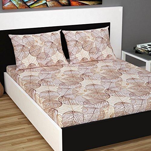 61ApB8n5HAL - Divine Casa 100% Cotton 144 TC Floral Double Bedsheet Cotton with 2 Pillow Covers - Brown