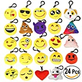 Decorations Emoji Keychains - Mini Pop Toy Plush Cushion Pillows Set - Funny Kids Party Supplies Favors - Easy Installation Charms with Durable Hook Clip - Set of 24 Soft Smiley Face Emoji Key Chains