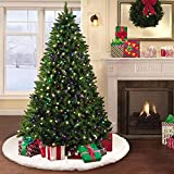 yuboo Faux Fur Christmas Tree Skirt 48 inches Snowy White Tree Skirt for Christmas Decorations for Party and Holiday