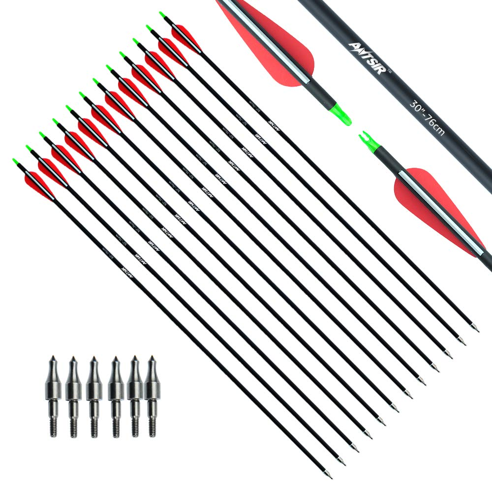 ANTSIR Outdoors Carbon 30-Inch 7.8mm Shaft Removable Arrows