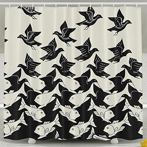 Water-Repellent Shower Curtain Sea Bird Fish Optical Illusion Shower Curtain 100% Polyester Fabric 36' X 72'