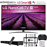 LG 65SM8100AUA 65' Nano Cell 4K Ultra HD LED TV w/ThinQ AI (2019) w/Soundbar Bundle Includes Deco Gear Home Theater Surround Sound 31' Soundbar, Flat Wall Mount Kit for 45-90 inch TVs and More