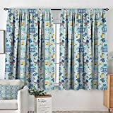 All of better Baby Room Darkening Curtains Newborn Sleep Crescent Moon Pacifier Nursery Star Polka Dots Image Decor Curtains by 63' W x 63' L Pale and Violet Blue Yellow