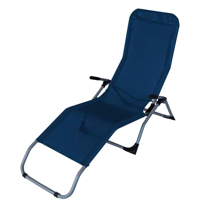 Sonnenliege mit Kippfunktion aus einem grauen Stahlgestell mit einem Textylenbezug in blau und mit Klappfunktion, Maße: B/H/T ca. 143/100/59 cm von lifestyle4living