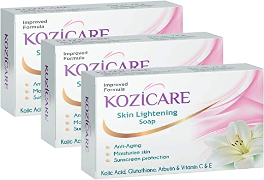 Kozicare Kojic Acid, Vitamin E, Arbutin Skin Whitening Soap, 75g (Pack of 3)