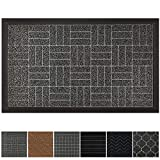 GRIP MASTER Durable, Tough All-Natural Rubber Doormats (29x17 Size) Waterproof Commercial High Traffic Indoor Outdoor Door Mat, Boots Scraper Mats, Entryway, Low-Profile, Easy Clean (Charcoal Stripes)