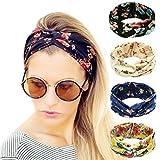 Ordenado 4 Pack Women's Headbands Elastic Turban Head Wrap Floal Style Hair Band
