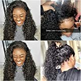 Releek Deep Wave lace Front Wigs with Baby Hair Pre Plucked 100% Unprocessed Brazilian Deep Wave Lace Front Wigs Human Hair 150% Density Full End Lace Wigs Natural Color for Women