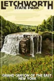 Letchworth State Park, New York - Middle Falls - Grand Canyon of the East (12x18 Art Print, Wall Decor Travel Poster)