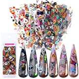 Lookathot 10Sheets Laser Halloween Christmas Snowflakes Pattern Sky Stars Nail Art Stickers Symphony Foil Paper Printing Transfer Acrylic Decals DIY Decoration Tools (Halloween(10sheets))
