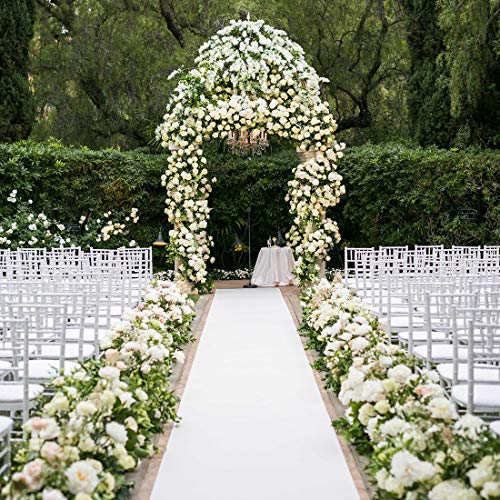 Healon 50 x 3 ft Wedding Aisle Runner White Aisle Runner Rug with Pull String for Wedding Ceremony and Party Floral
