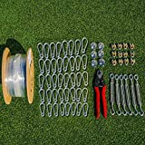 Fortress Batting Cage Netting Wire Tension Kit - Everything You'll Need to Easily Hang A Baseball Batting Cage (55ft)