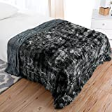 LANGRIA Luxury Super Soft Faux Fur Fleece Throw Blanket Cozy Warm Breathable Lightweight and Machine Washable Dyed Fabric for All Seasons – Decorative Throw for Couch Bed (60x80, Twin Size Black)
