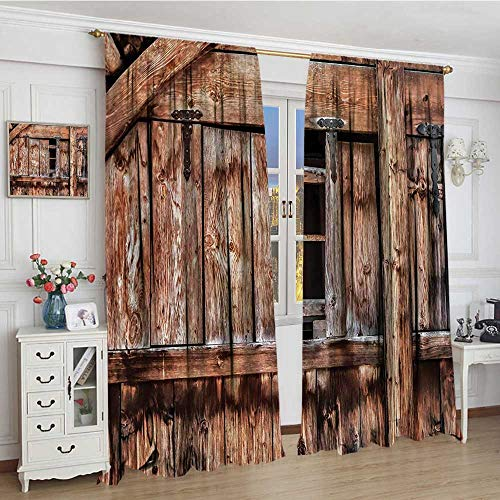 smallbeefly Rustic Blackout Window Curtain Abandoned Damaged Oak Barn Door with Iron Hinges and Lateral Cracks Knock Theme Patterned Drape For Glass Door 96