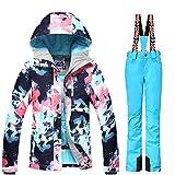 Women's Ski Bib Suit Jacket Waterproof Snowboard Colorful Printed Ski Jacket and Pants Set