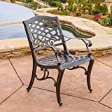Christopher Knight Home 239073 Deal Furniture Covington | Outdoor Cast Aluminum Dining Chair |, Set of Two, Antique Bronze