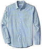 Amazon Essentials Men's Regular-Fit Long-Sleeve Casual Poplin Shirt, Blue Check, Small