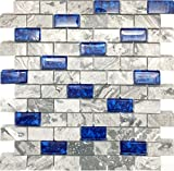 "Hominter 11-Sheets Navy Blue Glass Mosaic Tile Rectangle, Gray Natural Marble 1"" x 2"" Subway Mini Brick, Wall and Floor Tiles in Bathroom and Kitchen Backsplash NB03"