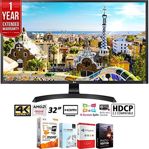 LG 32UD59-B 32' 3840x2160 Ultra HD 4k LED Monitor with FreeSync + Elite Suite 18 Standard Editing Software Bundle + 1 Year Extended Warranty