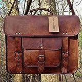 Gbag (T) Vintage Leather Laptop Bag 15' Messenger Briefcase Crossbody Shoulder Satchel Bag