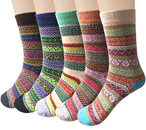 61D hGwdHJL Material: Womens winter warm socks made of 35% wool + 29% cotton + 36% polyester, Soft, breathable, wearable, moisture-wicking and odor-fighting. Size: Our wool socks are free size 23 to 25cm, suitable for women US shoe size 5 to 9, They are elastic and perfectly make it suitable for your feet. Design: Vintage and trendy design thick warm socks that will coordinate with whatever you're wearing. Brighten up those cold winter mornings with these snuggly cozy socks to keep your toes warm.