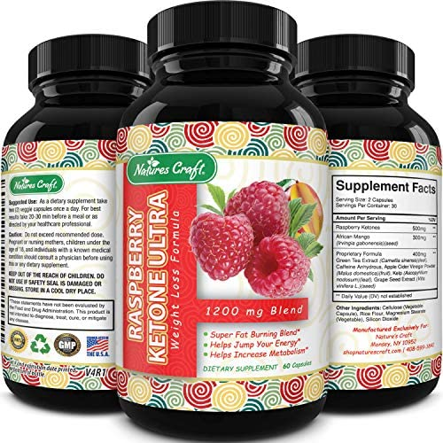 Blend Of Raspberry Ketones, Green Tea Extract And African Mango, Lose Weight Faster with Natural Ingredients To Speed Up Weight Loss, Suppress Appetite & Burn Fat, 60 Capsules 1