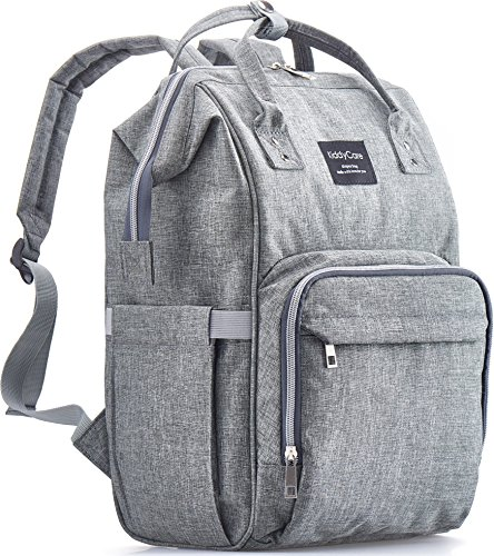 KiddyCare Diaper Bag Backpack, Multi-Function Waterproof Maternity Nappy Bags for Travel with Baby, Large Capacity, Durable and Stylish, Gray