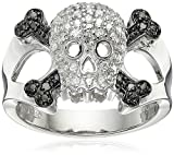 Sterling Silver Diamond Skull Ring (1/10 cttw, I-J Color, I2-I3 Clarity), Size 7