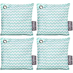 Bamboo Charcoal Air Purifying Bags (4 Pack), 200g Activated Charcoal Odor Eliminator Pack in Chevron Green Design, Small Air Purifier Bags, Active Charcoal Air Freshener & Moisture Absorber Packets