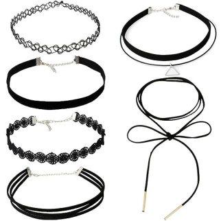 MJSCPHBJK 6 Pieces Choker Necklace Set Stretch Velvet Classic Gothic Tattoo Lace Choker Necklaces, Black (6Pieces)