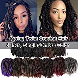 4 Packs Spring Curls Crochet Hair Fluffy Twist 8 inch Spring Curl Twist Hair Low Temperature Fiber Curly Ombre Bomb Twist Braiding Hair Extension 40 Strands #T1B/350 Natural Black to Auburn Ginger
