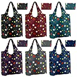 Reusable-Grocery-Bag-Large-Shopping-Bag 6 Pack Foldable With Magic Tape Cute Flower Design Large 50LBS Easy Fold Groceries Tote Bags Ripstop Fabric Washable Durable Lightweight
