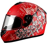 Triangle Skull Full Face Street Bike Motorcycle Helmets [DOT] (Medium, Matte Red)