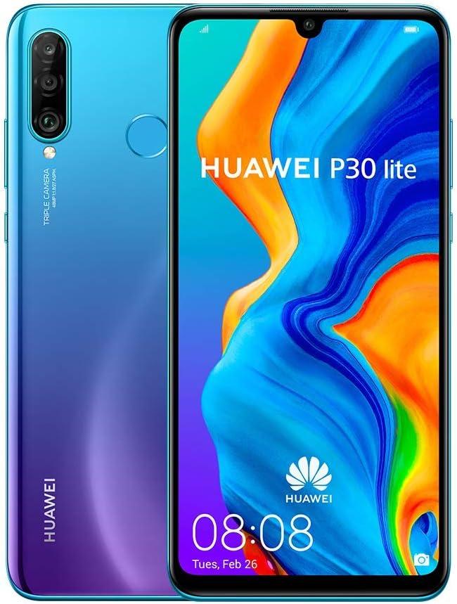 "Huawei P30 Lite (128GB, 4GB RAM) 6.15"" Display, AI Triple Camera, 32MP Selfie, Dual SIM Global 4G LTE GSM Factory Unlocked MAR-LX3A - International Version (Midnight Black) (Renewed)"