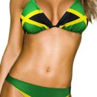 ecolore Women's Fashion Caribbean Jamaica Flag Bikini Swimsuit Swimwear