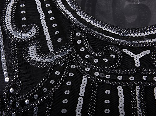61DXpvGd9oL Cap Sleeve Long Prom Flapper Dress Both front and back are decorated with sequined pattern