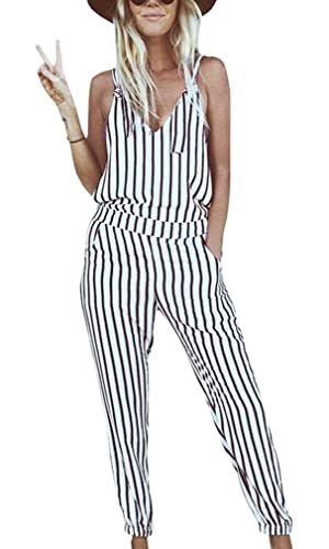 GAMISOTE Striped Bohemian Jumpsuit Sexy V-neck Strap Rompers Jumpsuit