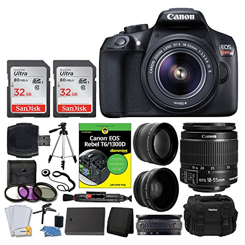 Canon EOS Rebel DSLR T6 Camera Body + Canon 18-55mm EF-S IS II Autofocus Lens + Wide Angle & 2x 58mm Lens + SanDisk 64GB Card + T6/1300D for Dummies + Photo4Less Gadget Bag + Quality Tripod - Full Kit