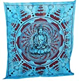 Meditation Buddha Tapestry Large Table Runner Wall Art Blue Bedspread Art, Home Decor Wall Hanging, Table Cloth Home Décor Bed Spread, Cotton Bohemian Tapestry, Hippie Tapestry
