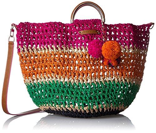 "61DsSfzvMUL Multicolored woven raffia straw tote with top handle and pom-pom charm Metallic hardware L: 25""  W: 9.25""  H: 15"""