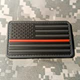 NEO Tactical Gear Thin Red Line Firefighter US Flag - PVC Morale Patch, Velcro Backed Morale Patch